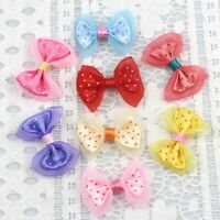 50-100 Satin Ribbon Bows Flower Appliques sew Craft Kid's cloth hair clip making