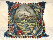 HUGE ANTIQUE NEEDLEPOINT W00LWORK TAPESTRY PILLOW OF DOGS
