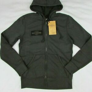 Harley Davidson Eagle Logo Gray Slim Fit Hoodie Men's Small Sweater 99089