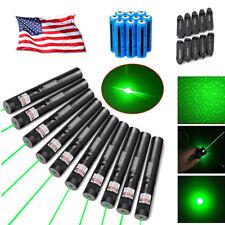 10x 50Miles Green Laser Pointer Pen 532nm 2in1 Star Pattern Lazer Beam Battery