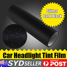 2 x 30cm x 40cm Headlight Tint Tinted Glitter Dark Black Film Car Fog Lamp Wrap