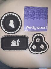"3 Wedgewood Collectors Society Blue Jasperware  Black/ Franklin Plates 4 1/2"""