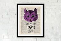 We're all mad here, Alice in Wonderland quote dictionary art, Cheshire Cat