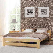 Wooden Pinewood Bed Frame 4FT6 Double 135x190 Couple Slats Solid Wood Furniture