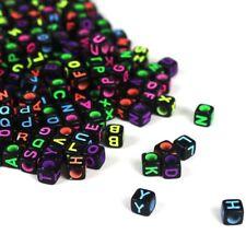 600 BULK Alphabet Letter Beads Cube Assorted Lot Wholesale Black Neon 6mm