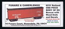 Funaro F&C 6231  RUTLAND  Whippet Route  36' DS Wood End RUT Boxcar  1 PIECE