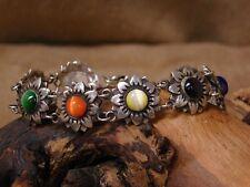 Sterling Silver Link Bracelet with Multicolor Fiber Optic Stones
