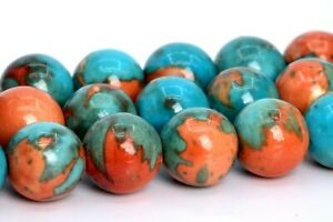 "8MM Orange & Blue Rain Flower Jade Beads Grade AAA Round Loose Beads 15.5"""