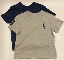 NWT 2 Ralph Lauren Baby Boys Cotton Jersey Crewneck Tee T-Shirt Gray/Blue 12M
