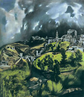 Oil painting El Greco - Toledo scenery charming landscape with building canvas