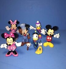 6 Walt Disney Mickey Mouse Minnie Daisy Duck Donald Train Engineer Police PVC