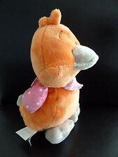 N7- Doudou peluche oiseau poussin orange gris Iris et Babette Noukie's ht 22cms