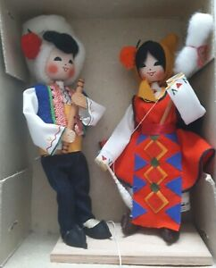 Vintage Eskimo ornaments in traditional dress, boxed, never used vgc