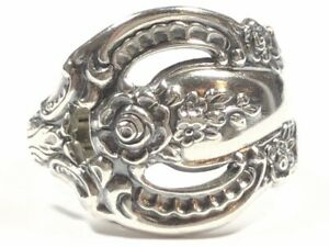 Vintage Ladies Solid Sterling Silver Spoon Ring - Size 8