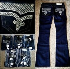 NEW BUCKLE ROCK REVIVAL KLARRY BOOT CUT STRETCH EMBELLISHED JEANS~SIZE 26 X 34