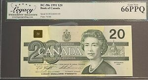 1991 Bank of Canada $20 Banknote - Legacy Superb Gem New 66PPQ