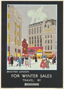 Brighter London for Winter Sales, 1924, English Travel London Underground Poster