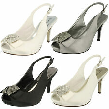 Ladies Anne Michelle F10254 Smart Satin Slingback Peep Toe Sandals