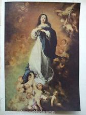 Stampa D'ANTIQUARIATO C1930S dipinti l'Immacolata Concezione BARTOLOME e Murillo