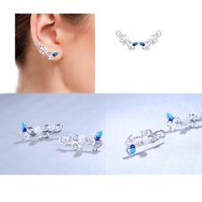 Women Fashion Pearl Blue Leaf Sterling Silver CZ Cuff Climber Crawler Earrings