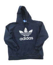 Adidas Hoodie Sweatshirt Hooded Pullover Big Treoil Logo Navy Blue Mens XL