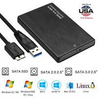 2TB SATA USB 3.0 Clear Hard Drive Disk HDD SSD Enclosure External Laptop Cases