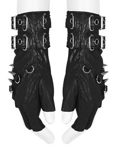 Punk Rave Mens Gothic Fingerless Archery Gloves Black Faux Leather Apocalyptic