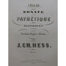 BEETHOVEN Sonate Pathétique Adagio Piano Orgue Violon ca1864 partition sheet mus