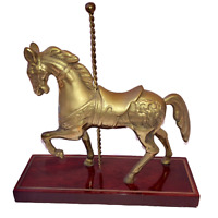 Solid Brass Carousel Horse Wood Base Handcrafted Equestrian Decor with Sticker