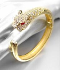 LUXURIOUS Stunning Designer 18kt Gold Plated CZ Crystals Leopard Cuff Bracelet