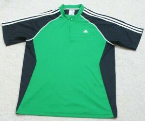 Adidas Green & Black Tee T-Shirt Top Mans Short Sleeve Large Polyester Spandex
