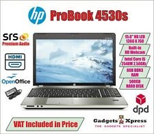 Fast Windows 10 Laptop HP ProBook 4530s Core i5-2450M 8GB 500GB Hdd Webcam 15.6