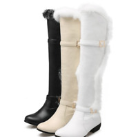 Women's Chic Rabbit Fur Leather Winter Over Knee Boots Warm Snow Boots Solid New
