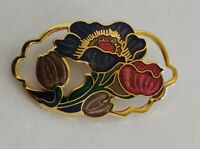 vintage cloisonné enamel flowers brooch signed sea gems