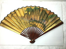 """Large Wood  Decorative Oriental Painted Village Hand Fan Hand Painted 18""""H"""