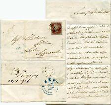 GB QV PENNY RED IMPERF Pl.99 BK FINE 4 MARGINS on ENTIRE LETTER 1850