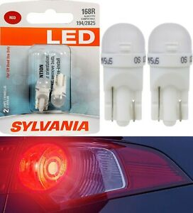 Sylvania LED Light 168 T10 Red Two Bulbs License Plate Tag Replace Fit Show Use