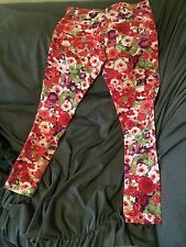 SHINESTAR FLORAL PRINTED SLIM-LEG ANKLE JEANS SIZE LARGE NEW W/ TAGS