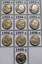 10-Coin sets of Gem PROOF CAMEO 1990/'s CLAD DIMES 1990-1999-S Free Shipping