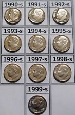 Complete Set of 10 1990's Clad Cameo Proof Roosevelt Dimes 1990-S to 1999-S
