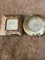 Blu Chic Bronze Gold Sequined Free Standing Picture Photo Frame 1.5x1.5 Set of 2