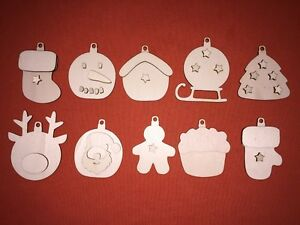 10 x 3D kits mix CHRISTMAS BAUBLE SHAPE PLAIN WOODEN GIFT CRAFT HANGING TAG