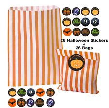 26 Happy Halloween Orange Striped Bags & 26 Stickers  for Trick Or Treat Party