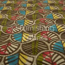 Floral Leaf Pattern Velvet Upholstery Fabric In Vibrant Green Pink Yellow Colour