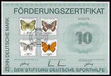 SPORTHILFE ZERTIFIKAT 1991 CERTIFICATE GERMAN OLYMPIC C. SCHMETTERLINGE za68