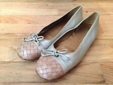 Womens Tommy Bahama Gold Tan Leather Woven Ballet Flat Shoes W7020 US 7