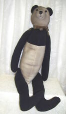 Primitive Folk Art Bear Plush Black and White Jointed 26 inches