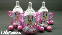 12 Fillable Baby Girl Shower Bottles Minnie Mouse Pink Party Favors Baby Shower