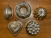 Lot of 5 Vintage Decor Wall Hanging JELLO Dessert Ice MOLDS Copper