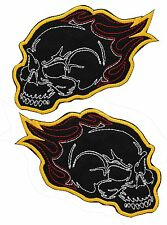 TWO FLAME BIKER SKULL embroidered PATCH